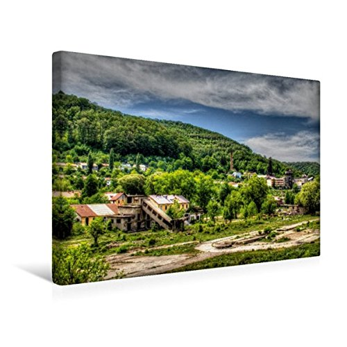 Premium Textil-Leinwand 45 cm x 30 cm quer, Stahlwerksgelände | Wandbild, Bild auf Keilrahmen, Fertigbild auf echter Leinwand, Leinwanddruck (CALVENDO Orte)