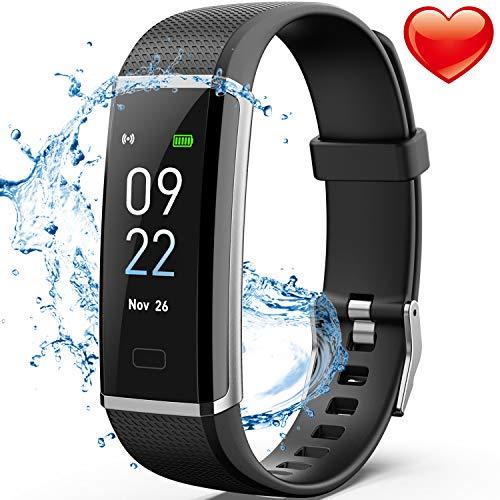 Delishee Fitness Armband Wasserdicht IP67 Fitness Trackers mit Pulsmesser Aktivitätstracker Kalorienzähler,Pulsuhren,Schrittzähler, Vibrationsalarm Anruf SMS für iOS Android Handy,Schwarz