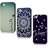 Lanveni Gemalt 3x Hardcase für iPhone 4/4S Handyhülle Schutzhüllen Shell Abdeckung Back Cover(Gänseblümchen + Blau Totem + Blau Lieben)