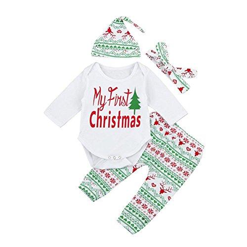 Herren Outfits Weihnachts (Hirolan Süß 4 Stück Tops + Hosen + Hut + Stirnband Säugling Baby Stirnbänder Junge Mädchen Lange Hülse Spielanzug Weihnachten Outfits Set (70cm,)