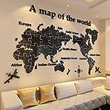 WTL Carte du monde Acrylique 3d Sticker Mural Bureau Salon Fond d'écran Chambre À Coucher Grand Décoration Murale (Couleur : A, taille : Xl)
