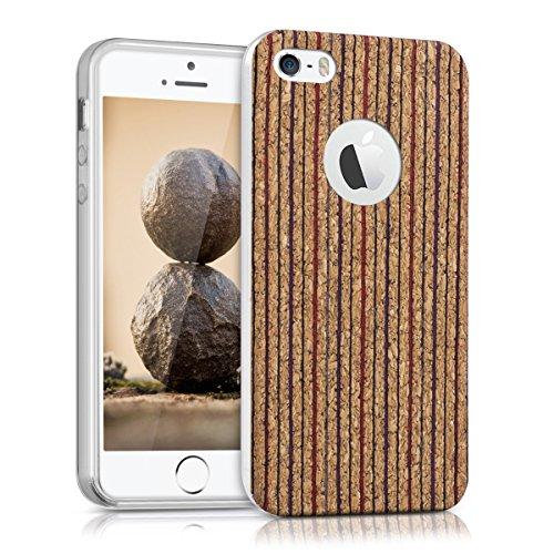 kwmobile Hülle für Apple iPhone SE / 5 / 5S - TPU Silikon Backcover Case Handy Schutzhülle - Cover Metallic Rosegold Linie Senkrecht Rot Blau Hellbraun