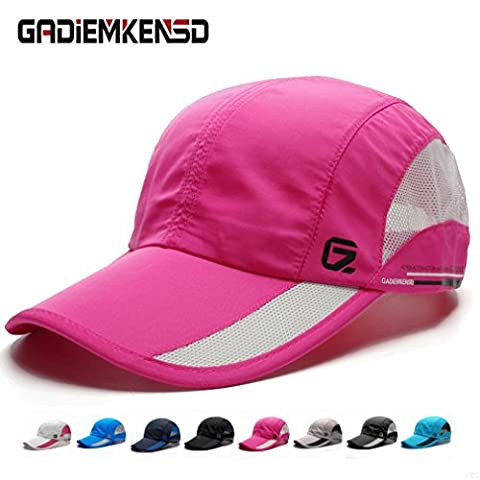 GADIEMENSS Quick Drying Breathable Running Outdoor Hat Cap Only 2 Ounces 10 Colors (Deep Pink)