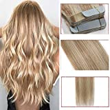 40 Pcs Extension Adhesive Naturel Cheveux Bande Adhésive Ruban Adhésif - Rajout Extensions Cheveux Humains Naturels Remy Hair (#18/613 Blond cendré/Blond très clair, 35cm)