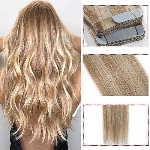 Extension capelli veri biadesivo riutilizzabili con mechè- 50cm 100g 40 ciocche #18/613 ash blonde/bleach blonde- 100% remy hair lisci