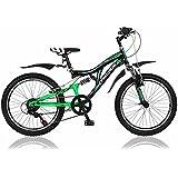 20 Zoll Kinderfahrrad Mountainbike Shimano 6 Gang Vollgefedert Fahrrad Jugendfahrrad Kinderrad Rad X-treme Grünschwarz