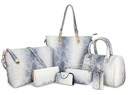 6fb7f304c94a hoxis Pack de 7 bolsas Mujer multiuso diseño clásico Patente Bolso Piel  Bolso Bandolera de Piel