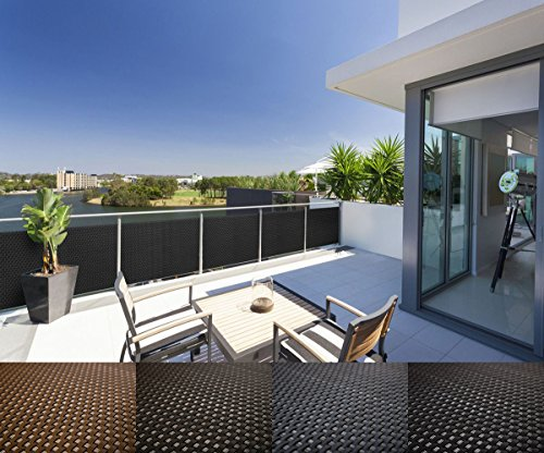 Mayaadi-Home Rattan Balkon und Terrassen-Sichtschutz inkl. Kabelbinder für eine einfache Montage, 100cm breit Anthrazit (Meterware)