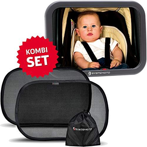 Systemoto Baby Safety Bundle, Rücksitzspiegel + Sonnenschutz Auto mit UV Schutz (2er Set) - Baby Auto Spiegel und Selbsthaftende Sonnenblenden für Kinder auf Rücksitz (Schwarz) - Sonnenschutz-bundle
