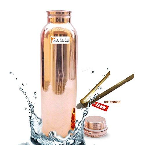 900 ml/30 Oz – Prisha Inde Craft® Traveller S 100% Pure Thermos cuivre Bouteille d'eau ou pour Ayurvedic Health Benefits – Bouteilles d'eau – Cadeau de Noël