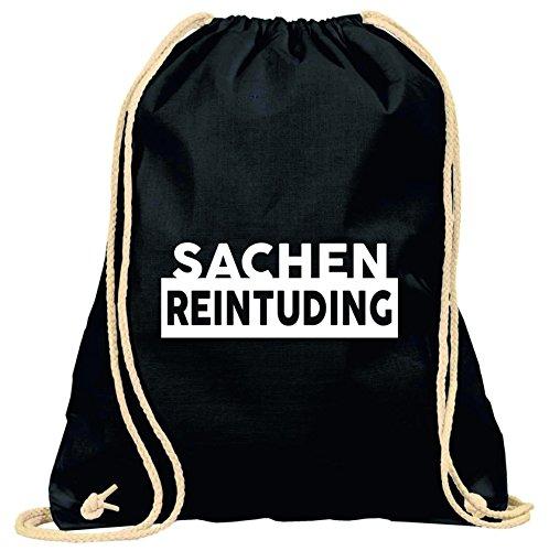 Turnbeutel mit Spruch / verschiedene Sprüche & Designs auswählbar / Beutel: Schwarz / Rucksack / Jutebeutel / Sportbeutel / Hipster, Turnbeutel:Reintuding