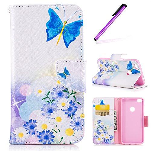 EMAXELERS Funda Huawei P8 Lite 2017 Premium PU Cuero Cartera para Tarjetas y Cierre Magnetico Soporte Plegable Funda Protectora para Huawei P8 Lite 2017 Blue Butterflies & Blue Chrysanthemum