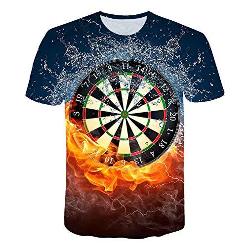 ZCYTIM 3D T Shirts Dartscheibe T-Shirt Darts Wurfspiel Grafik T Shirts Kurzarm Designer Shirts -