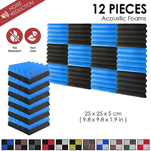 Super Dash (12 Stück) 25 X 25 X 5 cm Keil AKUSTIKNOPPENSCHAUM Studio Behandlung Wand Panel Fliesen dd1134, schwarz/blau, 25 X 25 X 5 cm - Blaue Stück Stoff