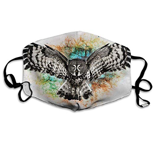 Essenz Gesichtsmaske (Monicago Einzigartige Unisex-Mundmaske, Gesichtsmaske, Cool Owl Flying Art Polyester Anti-dust Masks - Fashion Washed Reusable Face Mask for Outdoor Cycling)