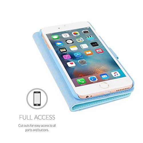 Cover iPhone 6 Plus e 6S Plus, Snugg Apple iPhone 6 Plus e 6S Plus Flip Custodia Case [Slot Per Schede] Pelle Portafoglio Progettazione Esecutiva [Garantita a Vita] - Rosa scuro, Legacy Range Azzurro