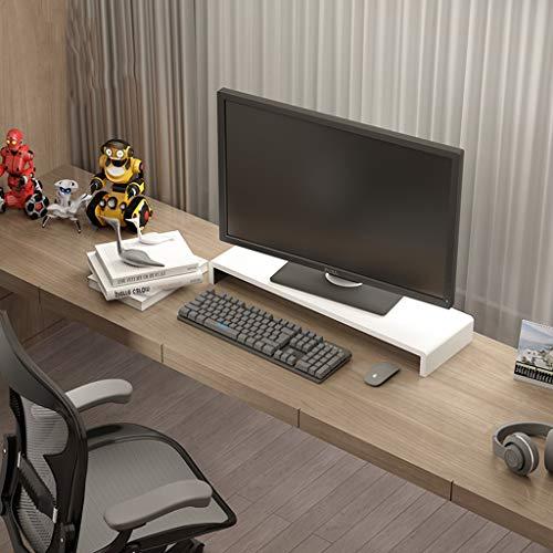 Computer Monitor Erhöhung Rack Tastatur Pad Hohe Halterung Desktop Storage Rack Computer Basis Regal Verdeckte Set Top Aufbewahrungsbox Mehrzweck ( Farbe : White+Black , größe : 60cm ) -