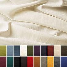 Tela de lino natural - 100% lino puro - Gran textura de lino - 20 colores - Por metro (Blanco crema)