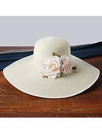 H.ZHOU Cappelli da Sole Cappello di Paglia Cappello da Spiaggia Donna  Estate Spiaggia Cappello Grande Visiera Protezione Solare… ccbdbcccdbba
