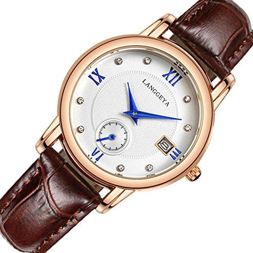 femmes-de-mode-montre-a-quartz-avec-bracelet-en-cuir-cafe