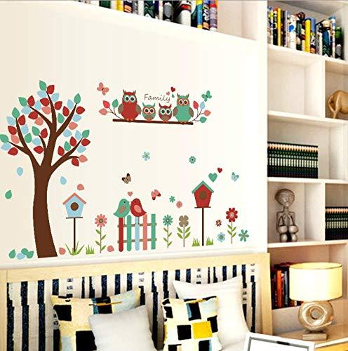 (Qjhdg Eule Blume Baum Cartoon Wandaufkleber Kinderzimmer Kindergarten Klassenzimmer Schlafzimmer Wohnzimmer Dekoration Aufkleber 60X90 Cm)