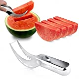 Anguria Affettatrice, Ubegood watermelon slicer/ anguria fette in Acciaio inox Affettatrice Corer Anguria Lama Della Frutta Peeler(Silber)