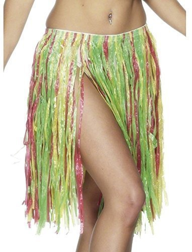 Für Damen: Sexy mehrfarbig Bastrock Hawaii Hula Girl Kostüm (Sexy Hula Kostüme)