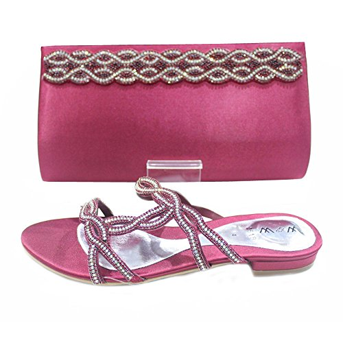 W & W femmes Mesdames cristal Diamante chaussures et sac assorti Taille (Roxi & Maxi) Bordeaux