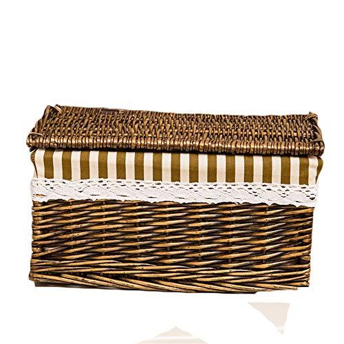 FSQY Aufbewahrungsbox mit Abdeckung Rattan Finishing Box Kleiderschrank Kleidung Spielzeug Aufbewahrungskorb schmutzigkorb Größe: 51cm x 37cm x 31cm