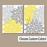 canvas print Gelb Grau Wand Kunst auf Leinwand Oder Druck Gelb Grau Badezimmer Decor Schlafzimmer Wandleuchte Decor Gelb Grau Kinderzimmer Flower Burst Petals Set von 2