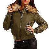 Damen Bomberjacke Gefüttert mit Kunstfellkragen Fliegerblouson Winter Jacke, Farbe:Khaki;Größe:34/XS
