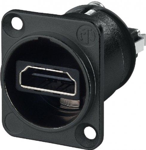 Neutrik NAHDMI-W-B HDMI 1.3 Durchführung im schwarzen D-Form Gehäuse Hdtv-form