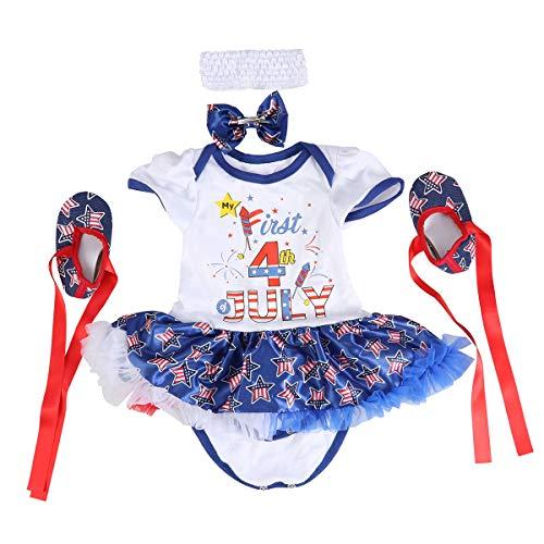 Amosfun Kleinkind patriotische Kleid Unabhängigkeitstag 4. Juli Party Kostüm Kit Tutu Kleid Tops Strampler Tutu Outfits Set 1 Set (Größe M, 3-6 - Patriotische Kostüme Für Kinder