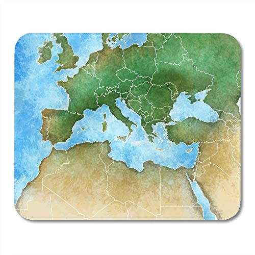 Mau Mat,Aquarell Frankreich Karte Des Mittelmeer Europa Afrika Und Mittlerer Osten Algerien Mauspad, 25Cmx30Cm