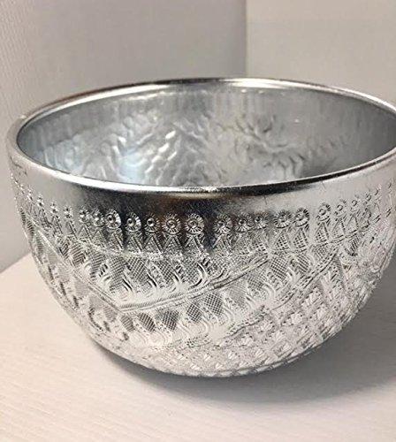 17,8cm Antik Handwerk Aluminium Wasser Schüssel Thai Traditionelle Servierschale, silber Farbe (Jersey Entfernt S/s)