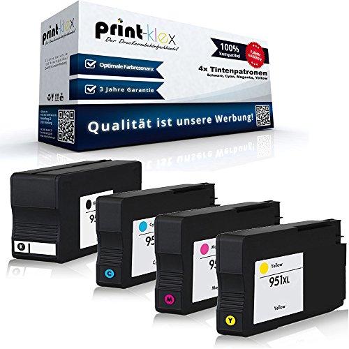 Preisvergleich Produktbild Print-Klex 4x Kompatible Tintenpatronen für HP OfficeJet Pro Office Jet Pro HP950XL HP951XL HP 950XL HP 951XL HP950 HP951 CN045AE CN046AE CN047AE CN048AE CN049AE Black Cyan Magenta Yellow
