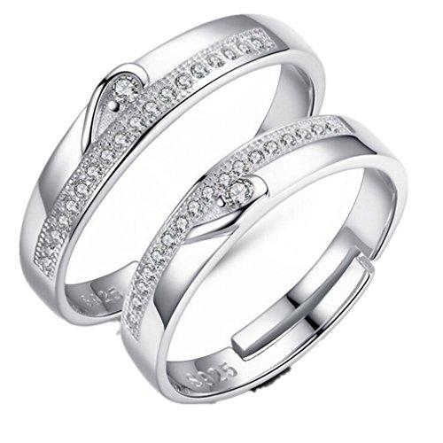 Preisvergleich Produktbild Lieberpaar Damen under Herren Paarringe 925 Sterling Silber Kristall Verstellbare Ringe Freundschaftsringe Als Valentinstag Geschenk (XYWYJ003)