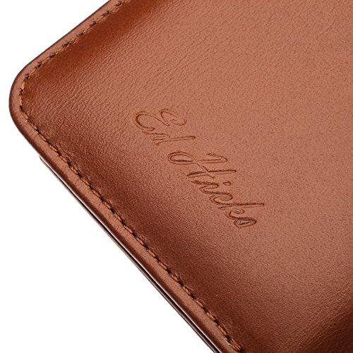 """Luxus Echtes Leder iPhone 6S iPhone 6 Ledertasche Kompakt Brieftasche Hülle mit """"Doppelt Schild"""" Schutz und Gegenüber Magnetverschluss um vermeiden Kreditkarte Korruption. Die Rila in Scharlachrot Braun"""