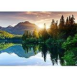 Vlies Fototapete 350x245 cm PREMIUM PLUS Wand Foto Tapete Wand Bild Vliestapete - MOUNTAIN LAKE VIEW - Berge See Sonnenuntergang Romantisch Bäume Wald - no. 051