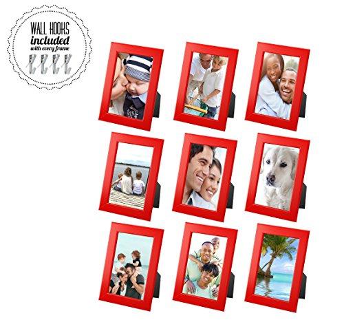 Ikea Family Rot Bilderrahmen Foto Collage mit Metall Hardware-5x 7Bilderrahmen [A + + + qbg Wandhaken]   Set von 9Bilderrahmen-für Wand Oder Schreibtisch-Collage von 9-Rot [9Pack] (Familie Bilderrahmen 5x7)