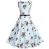 Damen Ärmellos Sommerkleid Minikleid Strandkleid Partykleid Rundhals Rock Mädchen Blumen Drucken Kleider Frauen Mode Kleid Kurz Hemdkleid Blusekleid Kleidung