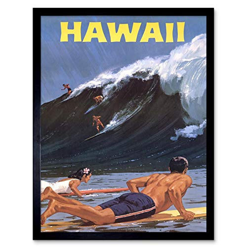 vel Tourism Hawaii USA Surf Ocean Wave Art Print Framed Poster Wall Decor Kunstdruck Poster Wand-Dekor-12X16 Zoll ()