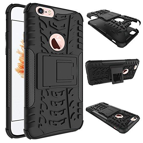 Nadakin Apple iphone 6 / 6S 4.7 inch Hülle Schutzhülle Hybrid Rugged Phone Case Stoßfest Handys Schutz Cover mit eingebautem Kickstand Shockproof für Apple iphone 6 / 6S 4.7 inch (Weiß) Schwarz