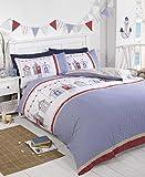 Signature Home Summer Seaside Beach Huts Duvet Cover Set, Blue, Single