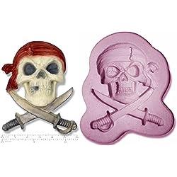Molde de silicona en forma de calavera pirata y espadas Jolly Roger