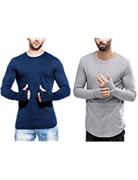 T Shirts For Man Blue & Grey Full Sleeve Thumb-hole Round Neck Cotton Men T-Shirt