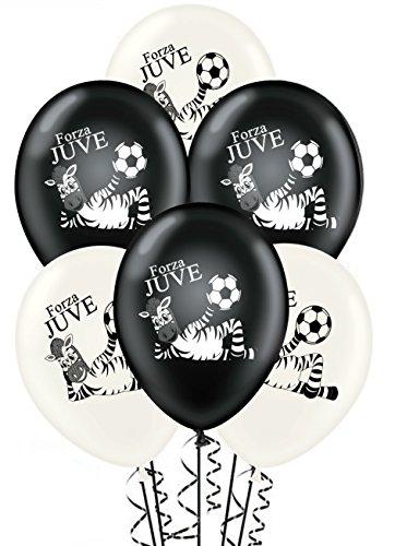 Paquete de 20 globos blancos y negros Forza Juve para cumpleaños