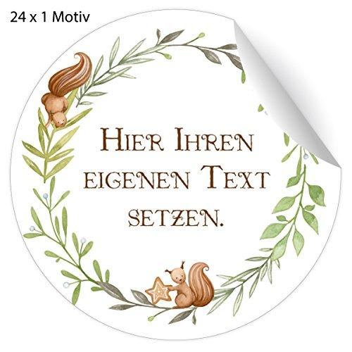 24 Custom Weihnachts Aufkleber mit Eichhörchen Weihnachts Kranz und ihrem Text, MATTE Papier Sticker für Geschenke zu Weihnachten, universal Etiketten für Deko, Pakete, Briefe etc (4,5cm)