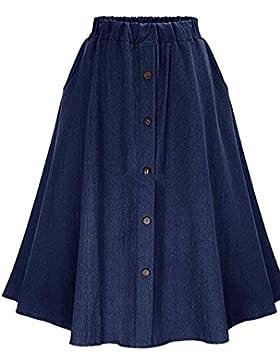 Mujer Midi Falda De Mezclilla Con Botones Faldas Vaqueras Plisada Azul Marino FreeSize