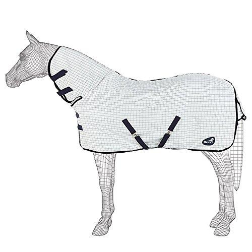 Masta SS18 Sommer Pferdedecke mit fixem Hals (145cm) (Weiß Karo)